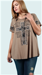 Embellished Top with Cross