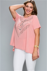 Short Sleeve Top with Stones