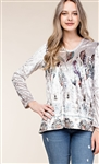 Grey Velvet Hoodie with Feather Print