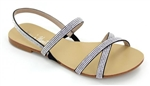 Flat Sandal with Crystal Straps