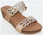 Gold Sandal with Crystal Straps