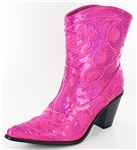 Short Fuchsia Sequin Boots