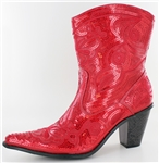 Short Red Sequin Boots