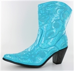Turquoise Sequin Boots