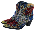 Short Blue Tapestry Boot