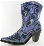 Short Black/Blue Sequin Boots