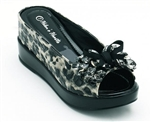 Black Leopard Casual Shoe with Hidden Wedge
