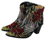 Short Black Tapestry Boots